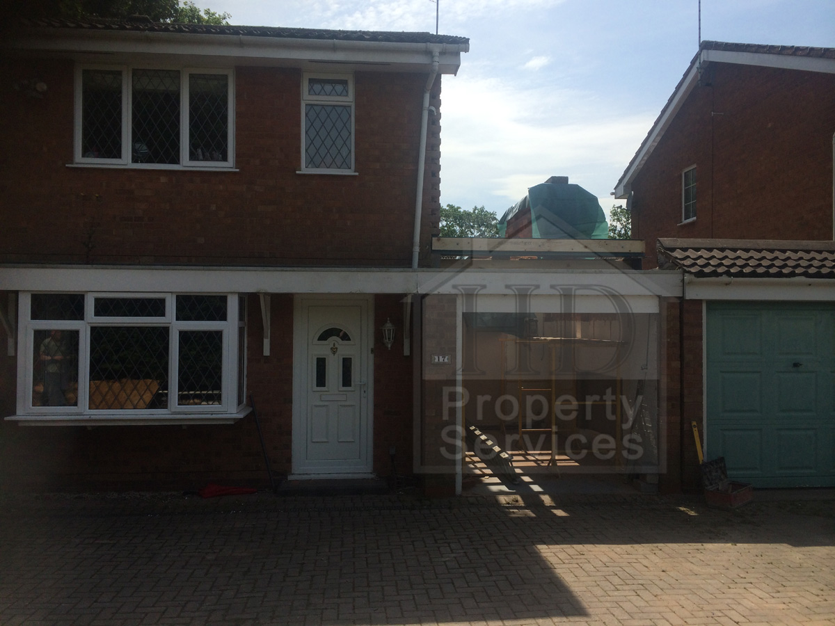 Garage conversion and first floor extension photo 2 & Before and after photos. Building project construction double storey ...