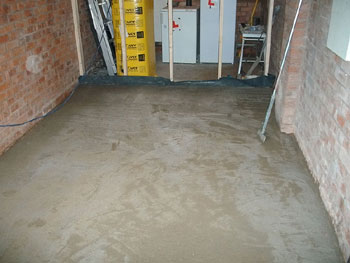 After damp proofing the whole floor is concreted
