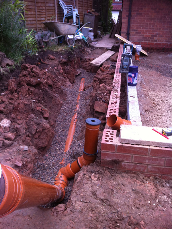 Single storey kitchen extension construction diary before for Waste pipe design